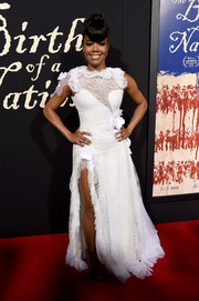 Gabrielle Union looked like a flamboyant bride in this asymmetrical white lace gown by Rodarte at the premiere of 'The Birth of a Nation.'
