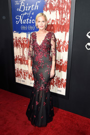 Penelope Ann Miller went for classic glamour in a floral-embroidered mermaid gown at the premiere of 'The Birth of a Nation.'