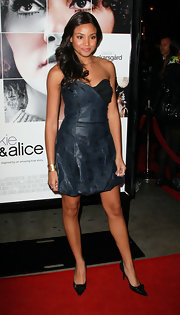 Meagan wears a unique red carpet design to the 'Frankie and Alice' premiere. The star opted for a blue leather bubble hemmed dress.