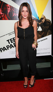 Addison Timlin was red carpet ready with her air styled in a long center part.