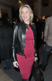 Sharon wore a slick leather jacket over her hot pink dress at the 'His Way' premiere.