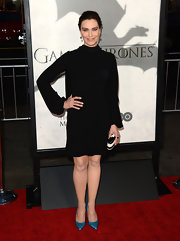 Michelle Forbes' little black dress looked totally '70s-inspired with its turtle neck and puffed sleeves.