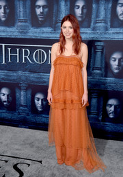 Hannah Murray got majorly boho in this layered orange maxi dress for the 'Game of Thrones' season 6 premiere.