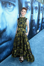 Rose Leslie kept it ladylike in an Erdem foliage-print gown with a high-low hem at the premiere of 'Game of Thrones' season 7.