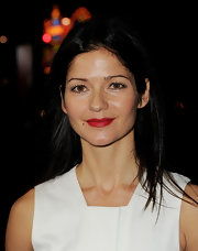 Jill Hennessy wore a class matte red lipstick at the premiere of 'Luck.'