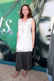 Diane Lane chose a black maxi skirt to pair with her top.