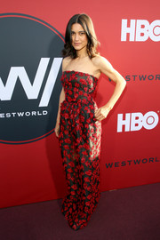 Julia Jones donned a strapless black and red gown for the premiere of 'Westworld' season 2.