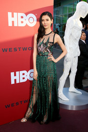 Tao Okamoto was sexy-glam in a sheer, embroidered gown by Elie Saab at the premiere of 'Westworld' season 2.