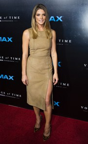 Ashley Greene opted for a simple yet chic nude suede dress when she attended the premiere of 'Voyage of Time: The IMAX Experience.'