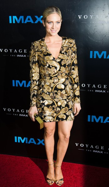 Brittany Snow chose a beaded, bold-shouldered mini dress that she styled with Anne Sisteron jewelry for the premiere of 'Voyage of Time: The IMAX Experience.'
