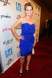 Crystal Allen was vibrant at the 'L!fe Happens' premiere in this gathered blue dress.