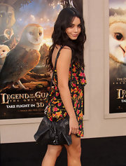 Vanessa showed kept things low-key at this LA premiere with floral print dress and a leather shoulder bag.