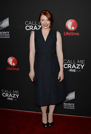 Bryce Dallas Howard chose a midnight blue cocktail dress for her look while at the premiere of 'Call Me Crazy.'
