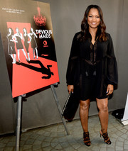 Garcelle Beauvais donned a perforated black peasant dress for the premiere of 'Devious Maids' season 4.