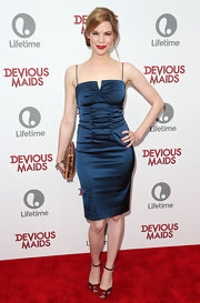 Mariana's midnight blue satin dress showed off the star's curves on the red carpet.