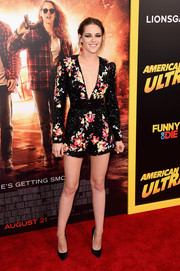 Kristen Stewart was a style standout in this heavily embellished, deep-V romper by Zuhair Murad at the premiere of 'American Ultra.'