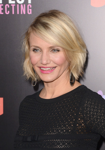 Cameron Diaz wore her choppy bob with a deep side part and textured layers