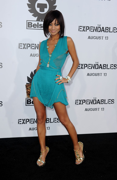 Bai Ling paired her gold strappy sandals with blue cocktail dress.