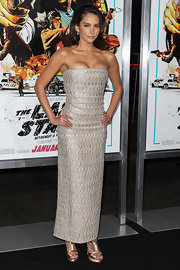 Genesis Rodriguez chose a pair of metallic platform sandals at 'The Last Stand' premiere.