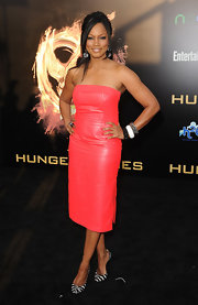 Garcelle Beauvais wore this strapless pink leather number to the LA premiere of 'The Hunger Games.'