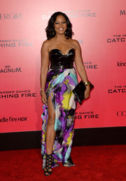 Garcelle Beauvais was bondage-glam at the 'Catching Fire' LA premiere in a strapless gown with a wet-look bodice and a print skirt.