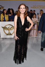 Julianne Moore was flapper-glam in a sparkly, fringed deep-V gown by Tom Ford at the 'Hunger Games: Mockingjay Part 1' premiere.
