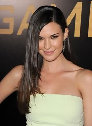 Odette Annable wore her hair long and sleek at the premiere of 'The Hunger Games.'