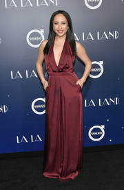 Cheryl Burke looked foxy in a plunging burgundy jumpsuit at the premiere of 'La La Land.'