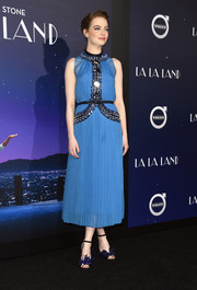 Emma Stone oozed vintage glamour in a pleated blue Prada dress with a beaded bodice at the premiere of 'La La Land.'