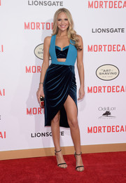 Jackie Marin was all sorts of sexy at the 'Mortdecai' premiere in a two-tone dress with a midriff cutout and a thigh-revealing, draped skirt.