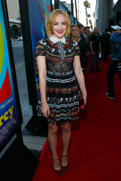 Jena Malone paired her frock with purple ankle-strap pumps by Brian Atwood.