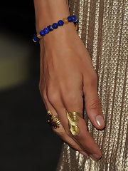 Actress Uma Thurman attended the premiere of her new film 'Ceremony' wearing a Celtic Dunes ring in 18-karat yellow gold.