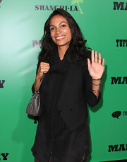 Rosario went black on black with this scarf and blazer ensemble at the premiere of 'Marley.'
