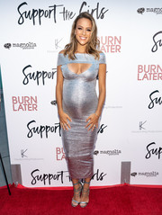 Jana Kramer showed off her va-va-voom maternity style with this clingy silver cutout dress at the premiere of 'Support the Girls.'