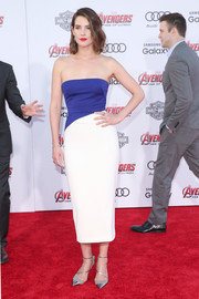 Cobie Smulders was modern-minimalist in a two-tone strapless dress by Bibhu Mohapatra at the premiere of 'Avengers: Age of Ultron.'