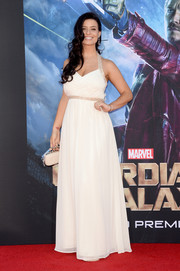 Nicole Shipley chose a white Grecian-style halter gown for the 'Guardians of the Galaxy' premiere.