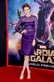 Karen Gillan looked downright elegant in a long-sleeve purple sheer-panel dress by Prada during the 'Guardians of the Galaxy' premiere.