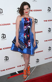 Roxane Mesquida finished off her colorful ensemble at the 'Iceman' premiere with a pair of bright orange strappy sandals.