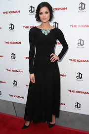 Jaimie Alexander looked modest yet chic in a long-sleeve black evening gown at the premiere of 'The Iceman.'