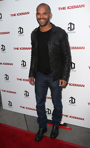 Amaury Nolasco looked tough on the 'Iceman' red carpet in a black leather jacket, jeans, and boots.