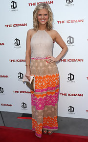 Arden Myrin exuded a boho vibe in this colorful halter dress at the premiere of 'The Iceman.'