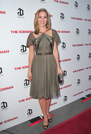 Carly Craig chose a mink brown satin dress with a beaded bodice and waistband for her look at the premiere of 'The Iceman.'