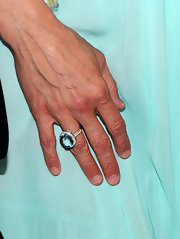 The huge gemstone ring Mira Sorvino wore to the premiere of 'Multiple Sarcasms' was truly eye-catching.