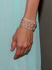 Mira Sorvino wore a dainty cuff bracelet to the premiere of 'Multiple Sarcasms.'