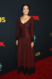 Mandy Moore kept it conservative yet stylish in a red and black maxi dress by Azzedine Alaia at the premiere of 'This is Us' season 3.