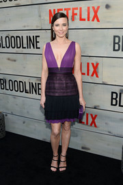 Linda Cardellini looked divine in a plunging purple and black cocktail dress at the premiere of 'Bloodline.'