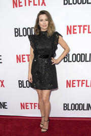 Linda Cardellini chose a flirty yet elegant ruffle-accented lace LBD for the premiere of 'Bloodline' season 3.