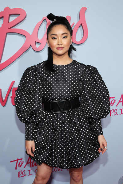 Lana Condor teamed an oversized logo belt with a polka-dot dress, both by Valentino, for the premiere of 'To All the Boys: P.S. I Still Love You.'
