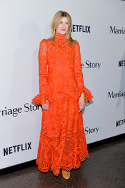 Laura Dern was a standout in a bright orange guipure lace gown by Zimmermann at the premiere of 'Marriage Story.'