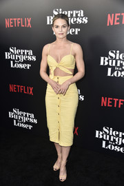 Jennifer Morrison went for simple styling with a pair of nude ankle-strap heels.